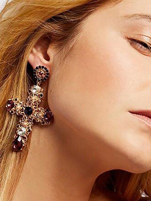 Womens Cross Diamond Earrings