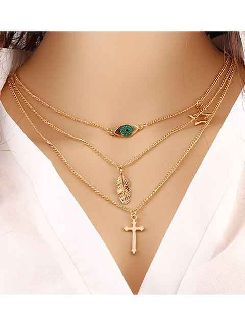 Womens Simple Multi-layer Alloy Necklaces