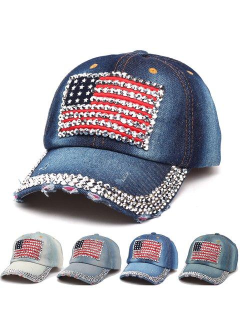 Womens Rhinestone Denim Hats