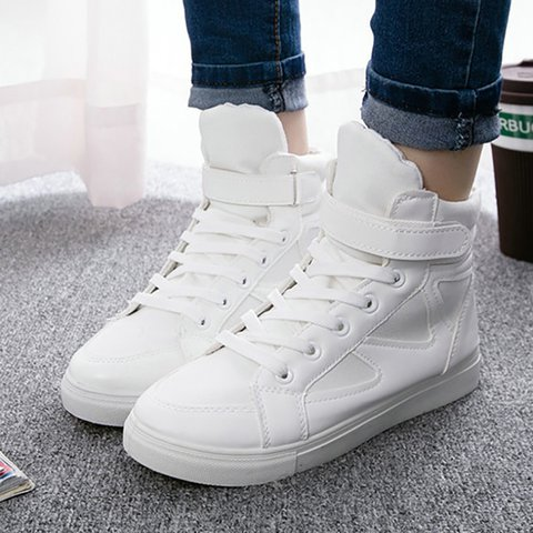 Women PU Sneakers Casual Comfort Magic Tape Shoes