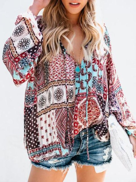 V neck Geometric Printed/Dyed Chiffon Blouses