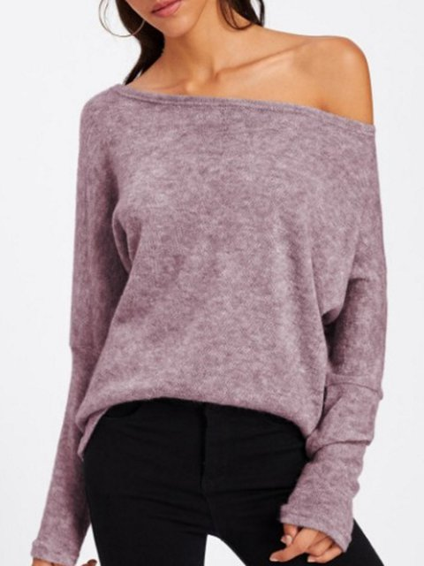 Batwing Off Shoulder Knitted Chic Blouse