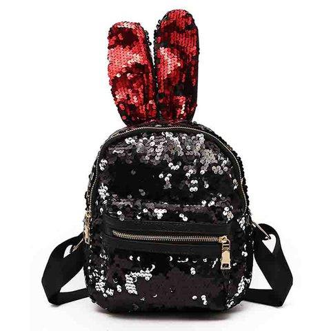 Women's Bling Rabbit Ear PU Zipper Backpacks