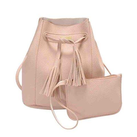 Women's 2PCS Cute Bucket Tassel Phone PU Crossbody Bags
