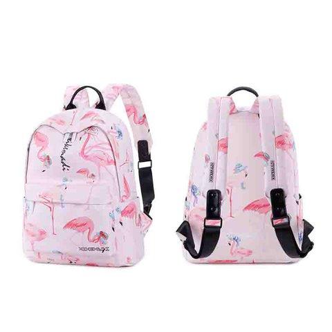 Women's Flamingo Casual Animal Printed Zipper Backpacks