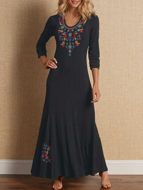 U-Neck Black Women Daily Long Sleeve Cotton Embroidered Tribal Spring Dress