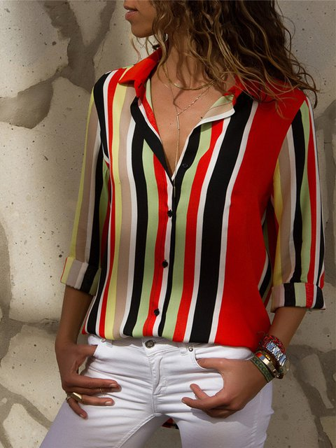 Chiffon Printed/Dyed Shirt Collar Striped Plus Size Elegant Shirt