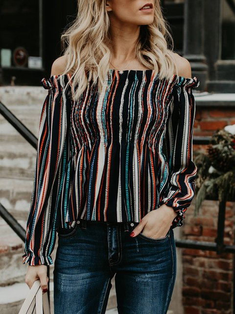 Knitted Blouse Striped Shoulder Stripe Off qPgxEAwW4