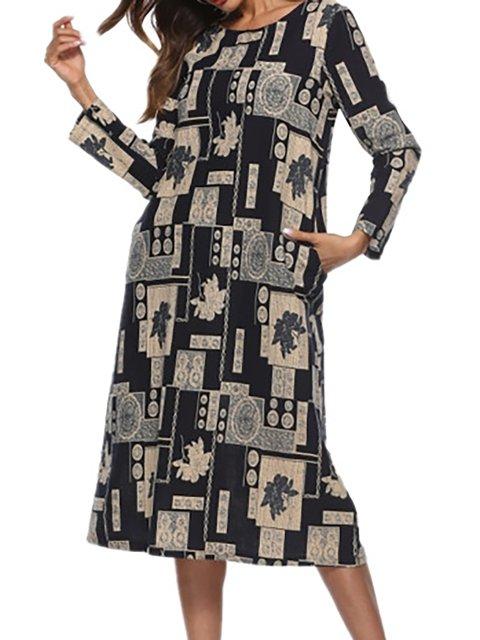 Deep gray Women Daily Long Sleeve Cotton Elegant Paneled Abstract Casual Dress