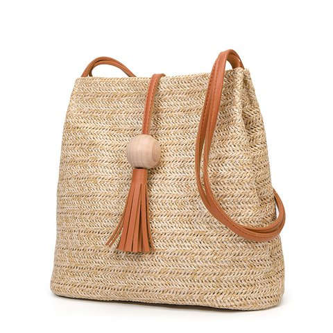 Women's Woven Straw Casual Beach Style Shoulder Tote Bags