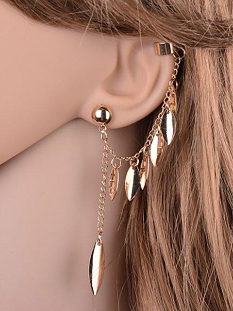 Womens Hot Gold-plated Tassel Leaf Earrings