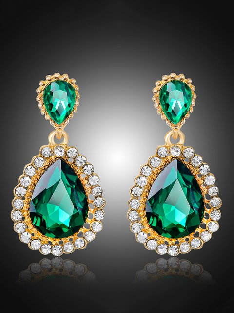 Womens Water Drop Shaped Diamond Earrings