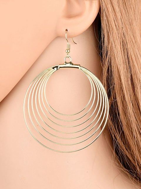 Womens Simple Metal Hollowed-out Circular Earrings