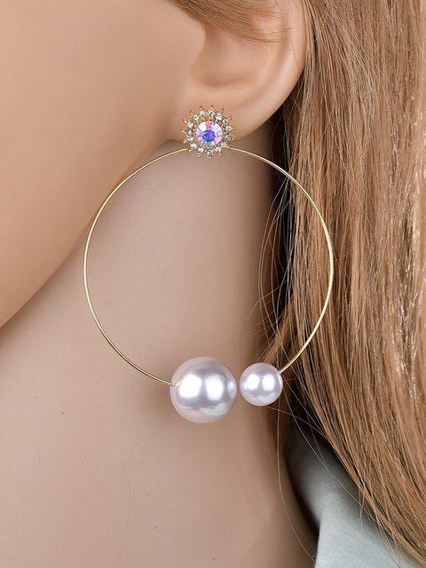 Metal Circle Pearl Inlaid Diamonds Punk Earrings