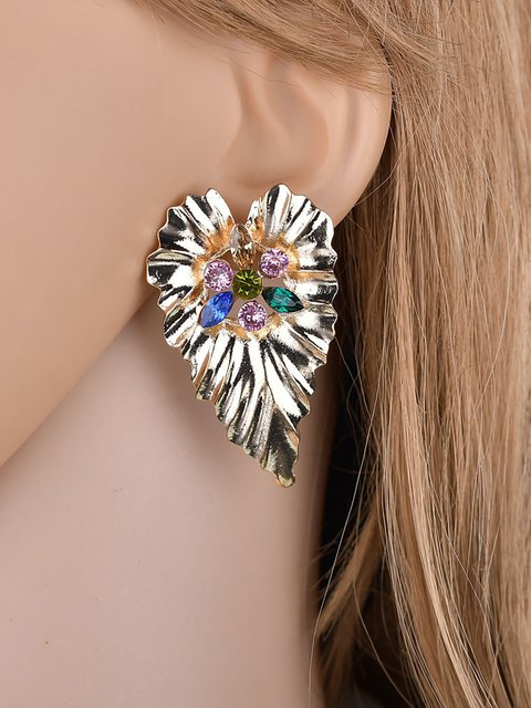 Fashion Metal Textured Geometric Heart Diamonds Earrings