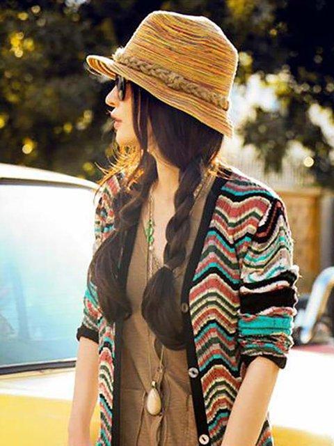 Womens Colorful Hemp Rope Summer Beach Bohemian Straw Hats
