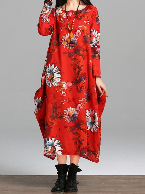 Cocoon Women Daily Long Sleeve Linen Floral-print Floral Casual Dress