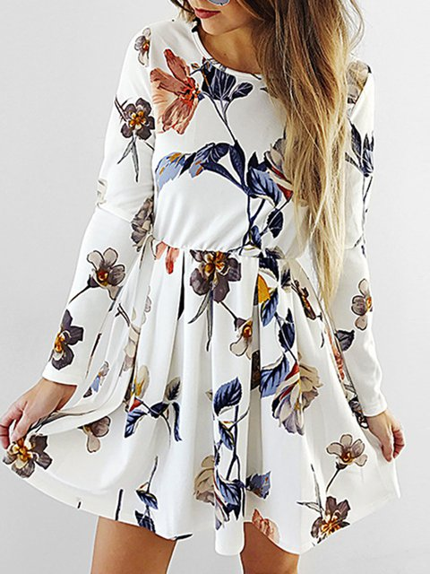 Beige Swing Women Daily Long Sleeve Casual Printed Spring Dress