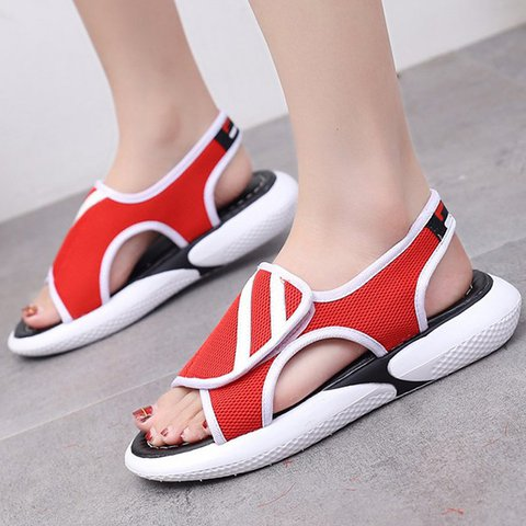 Women Mesh Fabric Sandals Casual Comfort  Magic Tape Shoes