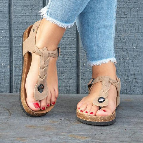 Women PU Sandals Casual Flip Flops Plus Size Shoes
