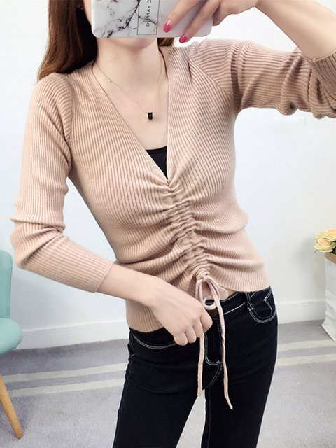 V neck Knitted Casual Solid Cotton-blend Sweater
