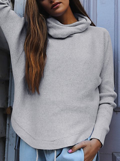 Cowl Neck Casual Solid Cotton Knitted Winter Sweater