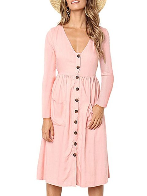 V neck  Swing Women Elegant Cotton Long Sleeve Paneled Plain Casual Dress