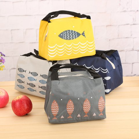 Thermal Insulation Cute Fish Lunch Box Canvas Storage Bags