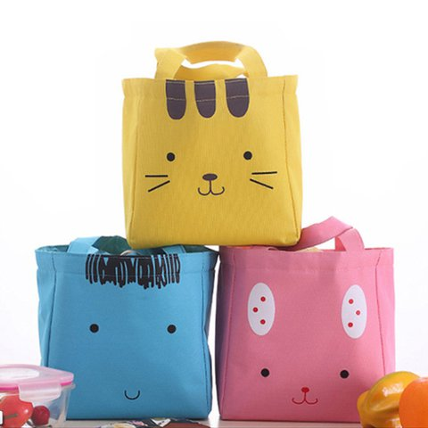 Thermal Insulation Cute Animal Canvas Drawstring Storage Bags