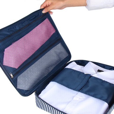 Travel Crease-resist Ties and Shirts Waterproof Oxford Zipper Storage Bags