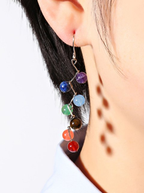 Trendy Womens Rainbow Stones Zinc Alloy Colorful Yoga Bead Dangle Earrings
