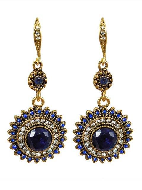 Womens Sunflower Retro Ear Drop Pendant Turquoise Rhinestone Earrings