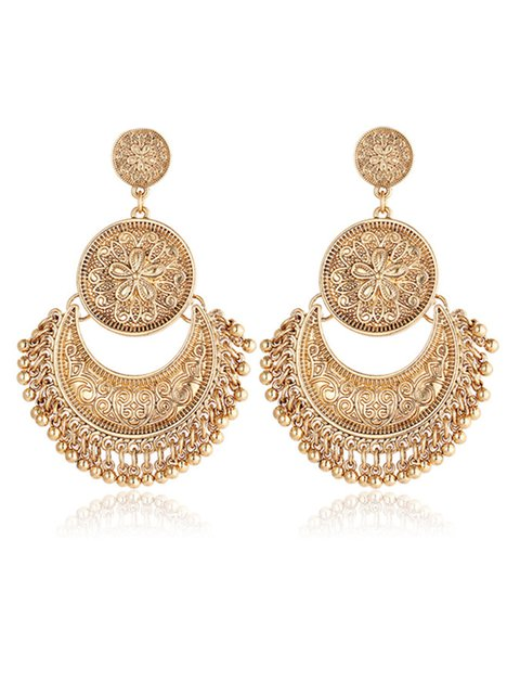 Womens Retro Ethnic Tassel Alloy Flower Moon Drop Dangle Earrings