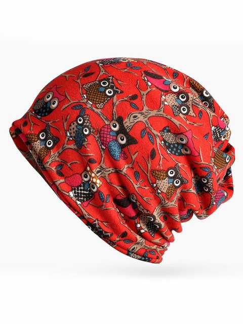 Womens Owl Pattern Slouchy Bonnet Caps Multi-function Double Layers Windproof Warm Scarves