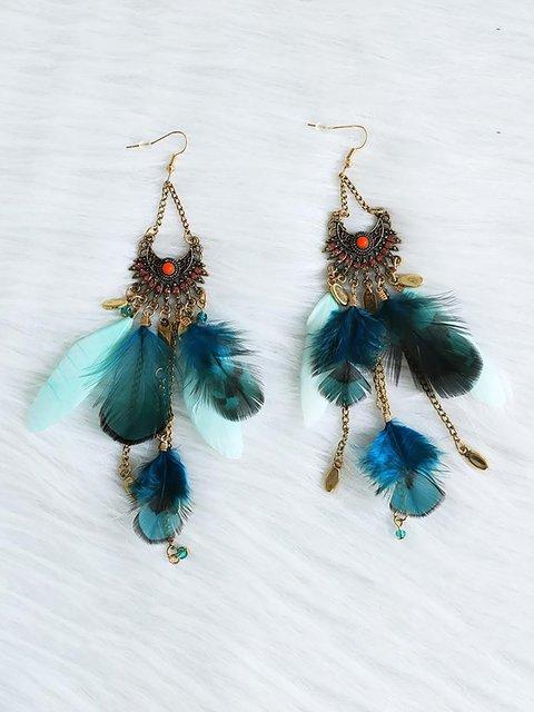 Womens Feather Long Tassel Bohemian Earrings