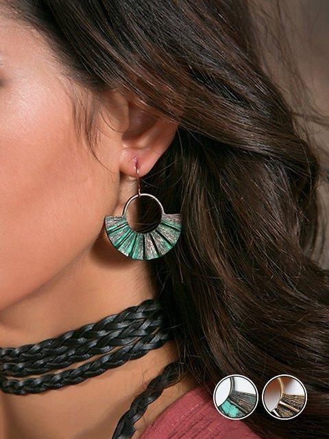 Women Dangle Big Fan Shaped Bohemia Drop Earrings