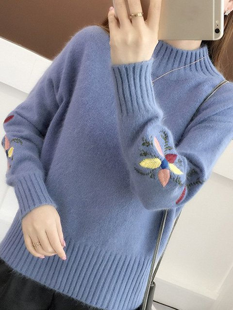 Floral Embroidered Winter Cony Hair Turtle Neck Sweater