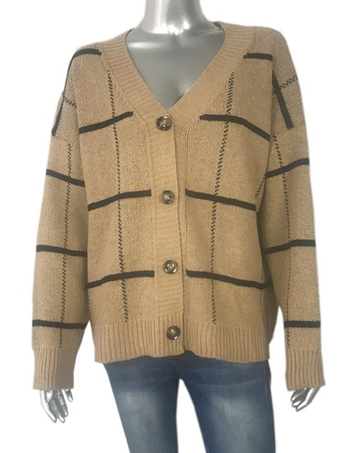 Buttoned Paneled Gingham Winter blend Wool Cardigan Casual 45xnWzp4