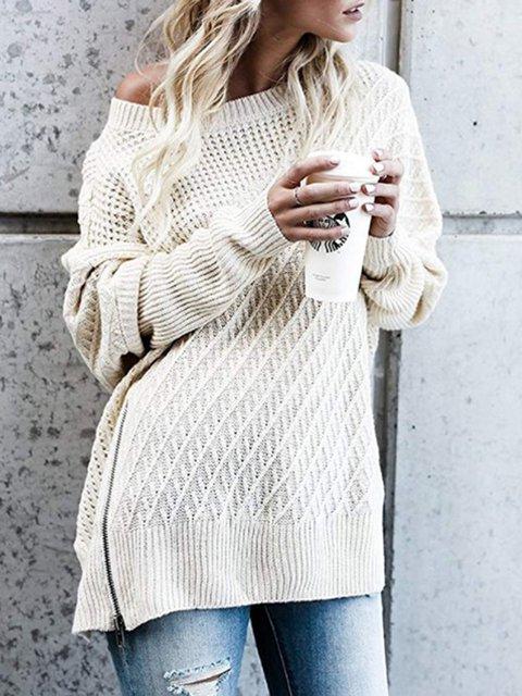 Batwing Wool blend Crew Neck Zipper Winter Sweater