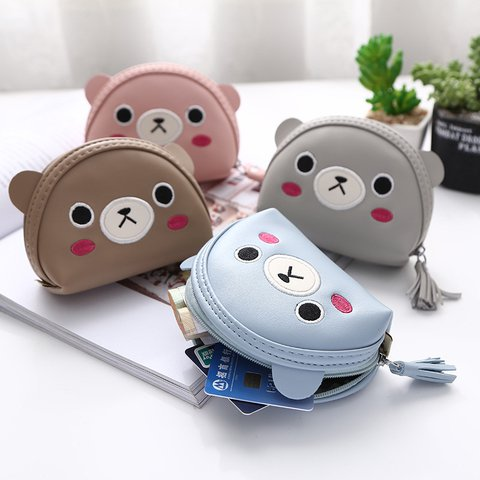 Women's Cute Bear Mini Purse Zipper PU Wallets