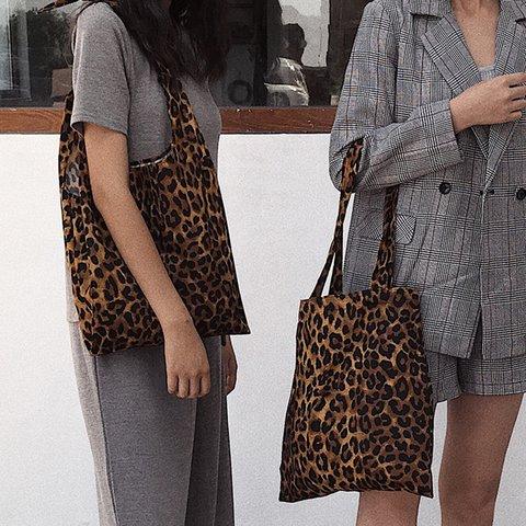 Women's Leopard Print Canvas Shoulder Bags