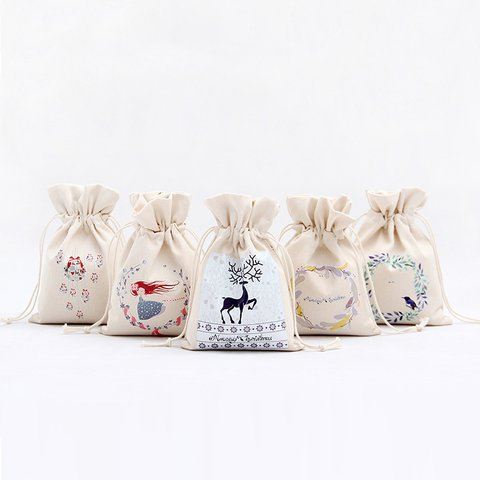 Christmas Mini Gift Drawstring Canvas Storage Bags