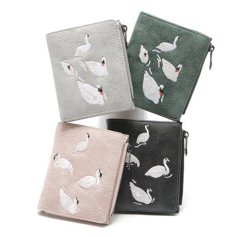 Women's Embroidery Multi-pocket PU Zipper Wallets