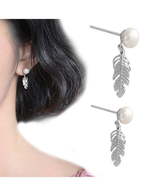 Sweet Womens Feather Shape Silver Earrings Fashion Pearl Charm Stud Earrings