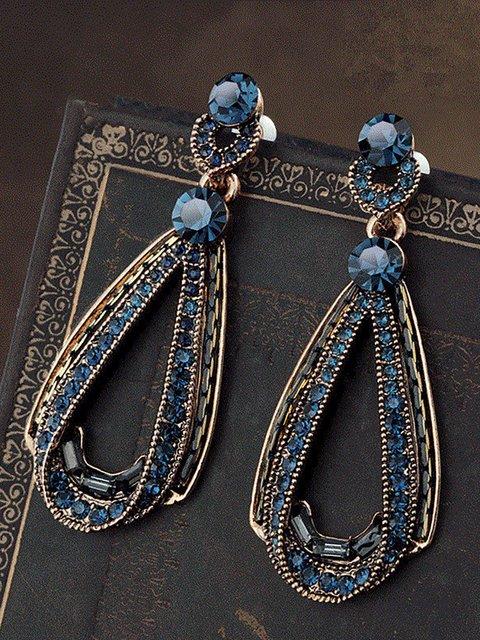 Women's Vintage Luxury Earrings Hollow Sapphire Dangle Gold Drop Sharp Rhinestones Earrings