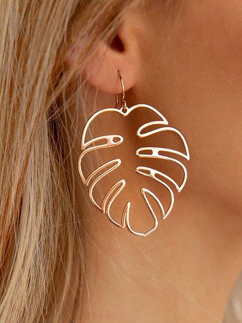 Womens Trendy Hollow Leaves Ethnic Drop Earrings