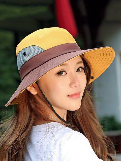 Womens Summer Foldable Mesh Breathable Anti-UV Fishermans Hats Outdoor Travel Sunscreen Bucket Hats