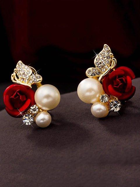 Luxury Gold Plated Red Rose Stud Earrings Rhinestones Butterfly Pearl Earrings for Womens
