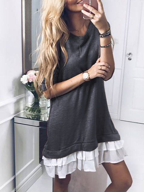 A-line Women Daily Cotton Long Sleeve Paneled Solid Spring Dress