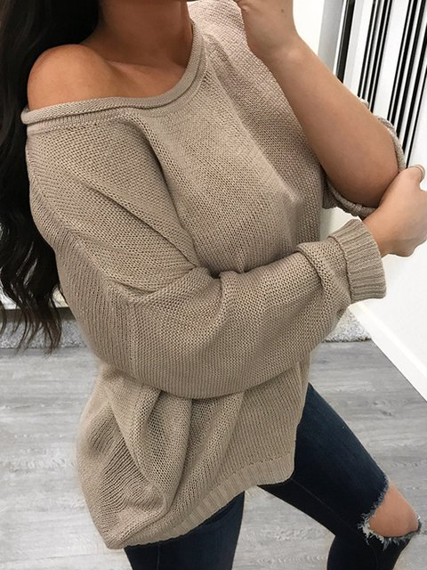Solid Casual Round Neck Plus Size Wool blend Sweater